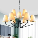 Classic Tapered Shade Chandelier 3/5/6 Lights Metal and Fabric Hanging Light in White for Living Room