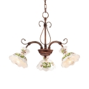 Metal White Flower Shade Chandelier 3/5 Lights Antique Style Pendant Lamp in Rust for Living Room