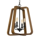 Melon Shade Dining Room Pendant Light Wood and Metal 4 Lights Rustic Style Chandelier in Black