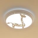 White Giraffe Ceiling Light Lovely White/Third Gear/Stepless Dimming Ceiling Mount Light for Kids Room