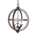 Antique Style Globe Pendant Lamp Metal 3/5 Lights Antique Rust/Chrome Chandelier for Hallway Stair
