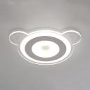 Kindergarten Flush Mount Light White Bear Shape Metal Acrylic Overhead Light with White Lighting