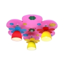 Colorful Flower Semi Flush Mount Light Creative Wood Bowl Shade LED Light Fixture for Girl Boy Bedroom