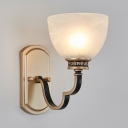 White Bowl Shade Sconce Light 1/2 Lights Antique Style Frosted Glass Metal Wall Sconce for Restaurant