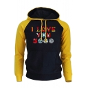 Cool Colorful Letter I Love You 3000 Colorblock Long Sleeve Pullover Hoodie