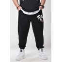 Black Cool Chinese Character Printed Drawstring Waist Oversized Mens Sport SweatPants