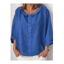 Women's Simple Solid Color Turn Down Collar Long Sleeve Loose Casual Blouse Top