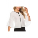 Women's Summer White V-Neck Ruffled Sleeve Contrast Piping Loose Fit Chiffon Blouse Top
