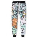 Popular Cute Cartoon Cat 3D Printed Drawstring Waist Green Loose SweatPants