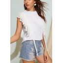 Summer White Stylish Round Neck Hollow Out Lace Ruffled Ribbon T-Shirt Top