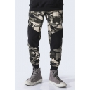 Mens Camouflage Printed Drawstring Waist Patched Back Pockets Casual Army Green Sport Joggers SweatPants