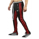Guys Stripe Side Drawstring Waist Zip Pocket Zippered vent Slim Sport Joggers