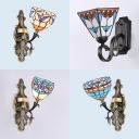 Dining Room Dome Wall Sconce Metal Stained Glass Single Light Tiffany Style Sconce Light