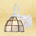 1 Light Down Lighting Wall Sconce Tiffany Style Glass and Metal Sconce Light in White for Dining Room