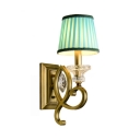 Fabric and Metal Wall Sconce 1 Light Blue Tapered Shade Traditional Wall Lamp for Restaurant Shop