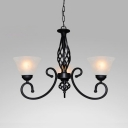 Restaurant Cone Shade Chandelier Metal Frosted Glass 3/5/6/8 Lights Traditional Black Hanging Light
