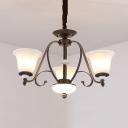 Traditional Bell Shape Hanging Light Glass Metal 3/6/8 Lights Matte Black Chandelier for Living Room