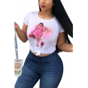 Summer Cool Fashion Lady with A Dog Printed Round Neck Short Sleeve White Tee