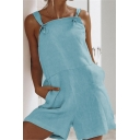 Womens Summer Simple Plain Strap Casual Linen Romper with Pocket