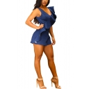 Hot Fashion Ruffled Hem V-Neck Sleeveless Solid Color Denim Playsuit Romper