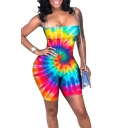 Womens Cool Street Fashion Rainbow Tie Dye Polka Dot Printed Sexy Strap Skinny Fit Jumpsuit Romper