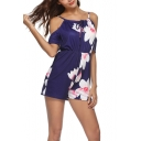 Summer Dark Blue Floral Printed Cold Shoulder Womens Casual Loose Romper