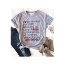 Floral Print TO BE HONEST Letter Gray Round Neck Short Sleeve Cotton Tee