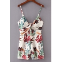 Summer Chic Floral Printed Unique Bow-Tied Front Strap Beach Romper for Women