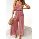 Womens Fashion Summer Vertical Stripe Printed Strapless Bow-Tied Waist Wide-Leg Jumpsuits