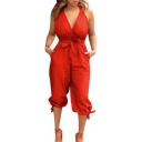 Women's Summer Fashion Solid Color V-Neck Sleeveless Bow-Tied Waist Bow-Tied Cuff Casual Jumpsuit