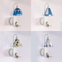 Down Lighting Glass Wall Light 1 Light Tiffany Style Sconce Lamp with Bird Decoration for Living Room