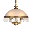Vintage Style Domed Shape Chandelier Frosted Glass 4 Lights Pendant Light with Crystal Decoration for Bedroom
