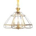 Candle Shape Living Room Chandelier Clear Glass and Metal 4 Lights Traditional Pendant Lamp