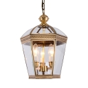 Antique Style Candle Chandelier with Shade 3 Lights Metal and Clear Glass Hanging Light for Kitchen