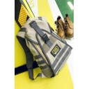 Cool Letter Tape Patched Outdoor Multifunction Khaki Tactics Bags with USB Charger Backpack 31*12*45 CM