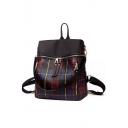 Cool Popular Plaid Pattern Multiple Zippers Oxford Cloth Shoulder Bag Backpack 29*14*33 CM