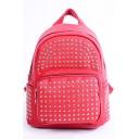 Cheap Trendy Plain Rivet Embellishment Satchel Backpack 22*12*25 CM