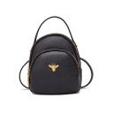 Elegant Solid Color Insect Metal Decoration Shoulder Bag Crossbody Backpack 18*9*20 CM