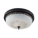 3/4 Lights Bowl Ceiling Lamp Vintage Style Metal Flush Light in White for Dining Room