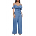 Women's Sexy Spaghetti Straps Ruffle Hem Tied High Waist Wide Leg Light Blue Jumpsuits Rompers Pants