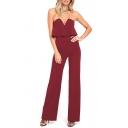 Stylish Plain V-Neck Sleeveless Ruffle Details Jumpsuit For Women