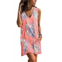 Summer Hot Fashion Floral Printed V-Neck Sleeveless Mini Tank Dress with Pocket