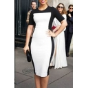 Summer New Trendy Colorblock Round Neck Short Sleeve Midi Pencil Dress