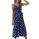 Women's Sleeveless V-Neck polka dot Printed Bow-Tied Waist Midi Beach Slip Dress