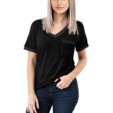 Women's Summer Solid Color V-Neck Short Sleeve Pocket Patched Chest Loose T-Shirt