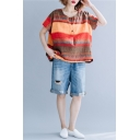 New Trendy Stripe Printed Round Neck Short Sleeve Button Front Casual Brick-Red Tee for Women