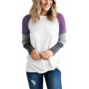 Women's Hot Sale Round Neck Long Sleeve Color Block Cotton T-Shirt