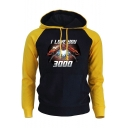 Unique Iron Hand Heart Letter I LOVE YOU 3000 Colorblock Long Sleeve Drawstring Hoodie