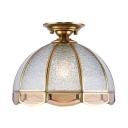 Vintage Style Dome Flush Ceiling Light 1 Light Glass Light Fixture for Living Room