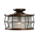 Vintage Style Dome Ceiling Light One Light Ridged Glass Flush Mount Light for Balcony